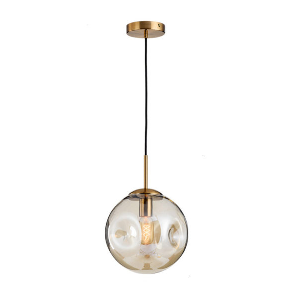 Lustra suspendata Mia, abajur sferic de sticla, inaltime 25 cm - Underline