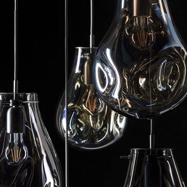 Lustra suspendata Namida, abajur de sticla, inaltime 30cm - Underline