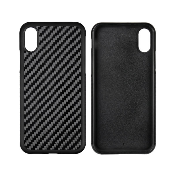 Husa iPhone X/Xs, fibra de carbon, anti slide, full size protection, wireless charging - Underline