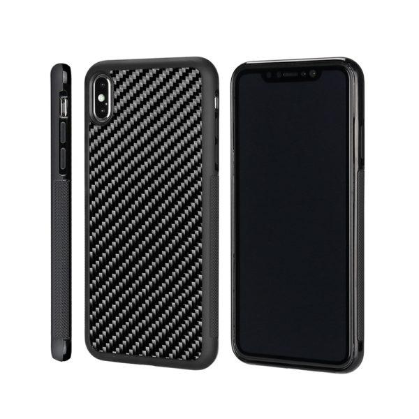 Husa iPhone Xs Max, fibra de carbon, anti slide, full size protection, wireless charging - Underline