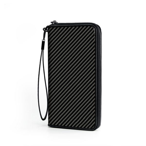 Portofel pliabil cu fermoar, fibra de carbon, unisex, negru glossy - Underline