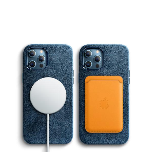 Husa iPhone 12/12 Pro, Alcantara, Magsafe, full size protection, wireless charging - Underline