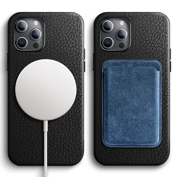 Husa iPhone 12/12 Pro, piele naturala Lychee, Magsafe, full size protection, wireless charging - Underline