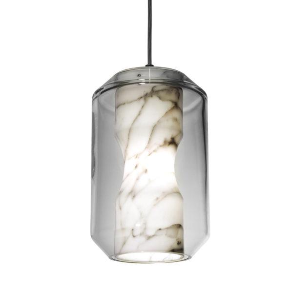 Lustra suspendata Ava, abajur de sticla, inaltime 33 cm - Underline