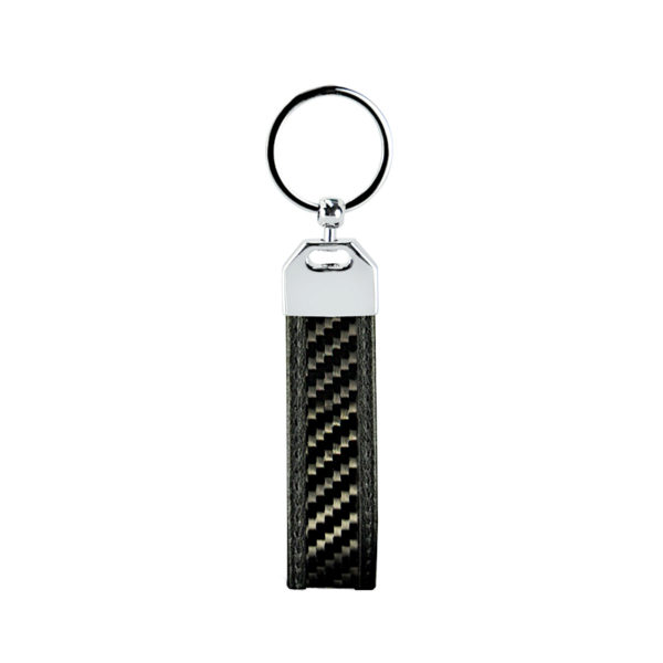 Breloc, fibra de carbon, negru glossy, cusatura neagra - Underline