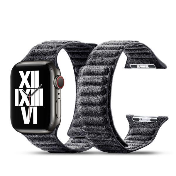 Curea pentru Apple Watch, Alcantara, prindere magnetica, 44mm - Underline